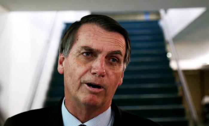 Jair Bolsonaro, durante entrevista na Câmara dos Deputados Foto: Ailton de Freitas/Agência O Globo/07-08-2018