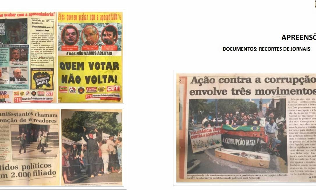 Também foram encontrados recortes de jornais Foto: Reprodução