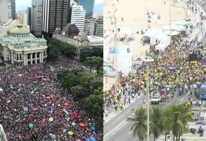 Fotos mostram mobilização contra Bolsonaro, na Cinelândia, e a favor do deputado, em Copacabana Foto: TV Globo/G1