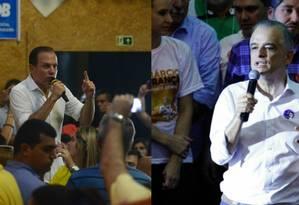 João Doria e Marcio França, candidatos ao governo de São Paulo, durante atos de campanha Foto: Agência O Globo