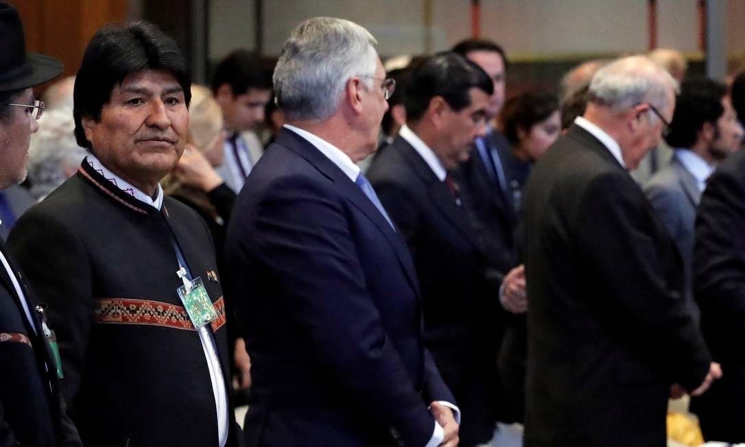 O presidente boliviano, Evo Morales, na CIJ: rejeição a plano de acesso ao mar Foto: YVES HERMAN / REUTERS