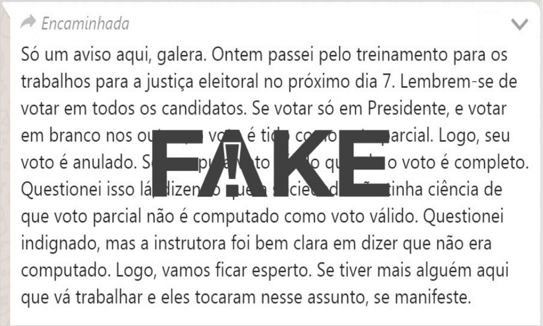 Mensagem que circula em grupos de WhatsApp é #FAKE Foto: Reprodução
