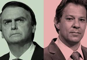 Os candidatos à Presidência Jair Bolsonaro e Fernando Haddad Foto: Agência O Globo
