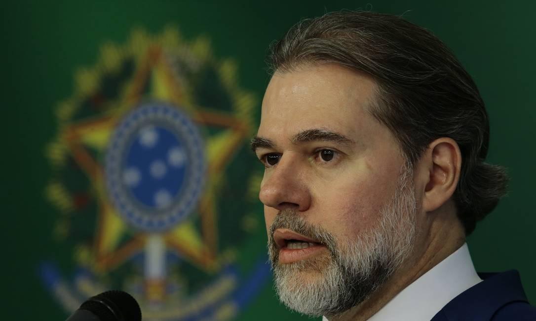 O presidente do STF, ministro Dias Toffoli, durante entrevista Foto: Jorge William/Agência O Globo/25-09-2018