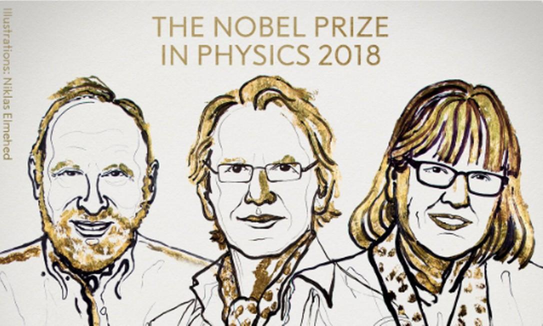 Nobel de Física de 2018 foi para o americano Arthur Ashkin, o francês Gérard Mourou e a canadense Donna Strickland Foto: Twitter/Reprodução