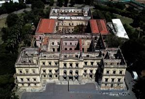 Museu Nacional: Reconstrução vai preservar parte das ruínas do prédio Foto: Custódio Coimbra / Agência O Globo