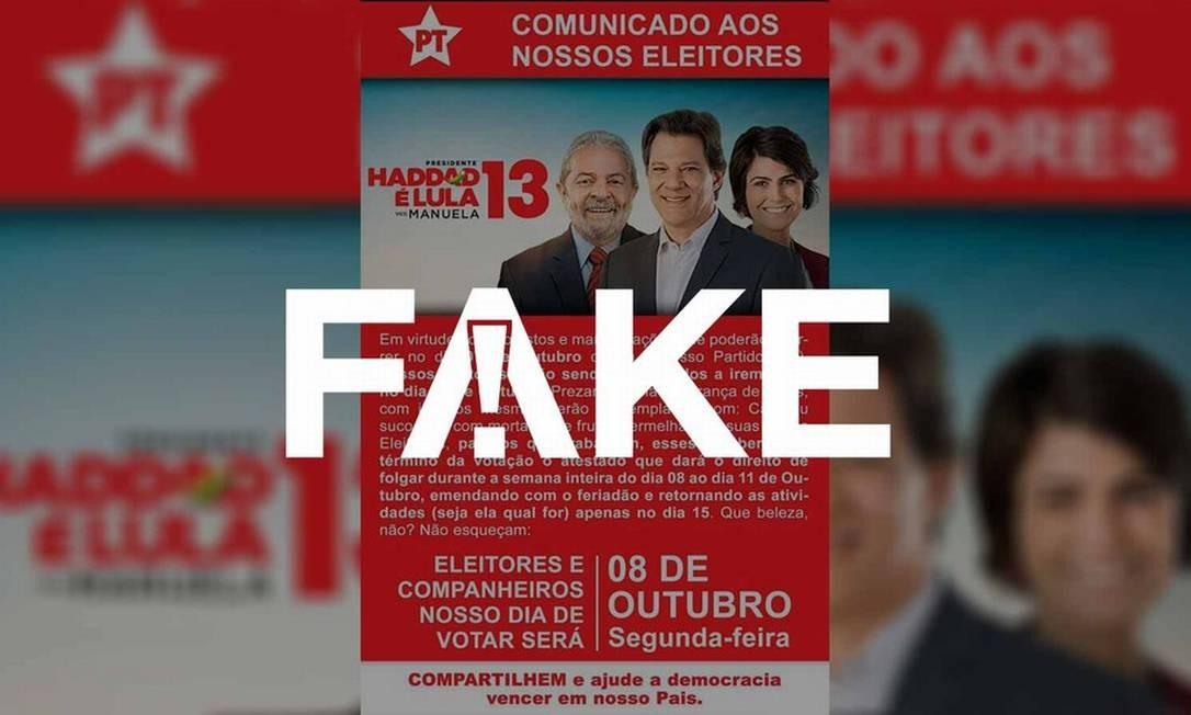 Comunicado que diz que eleitores do PT devem votar no dia 8 de outubro é falso Foto: Reprodução