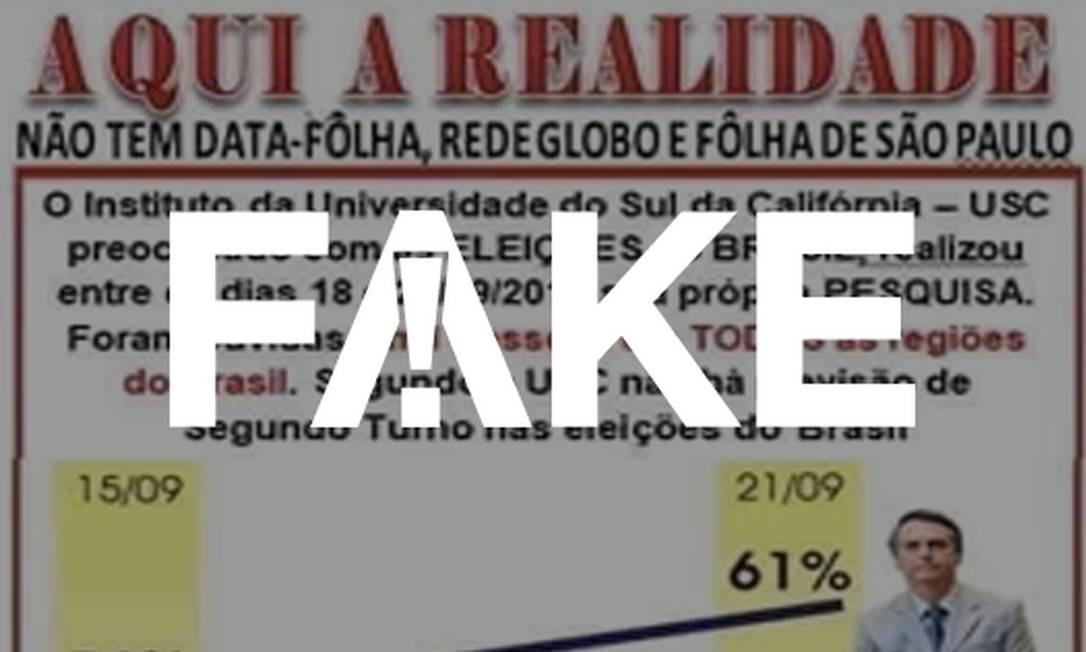 Imagem com pesquisa da Universidade do Sul da Califórnia é falsa Foto: Reprodução/Whatsapp