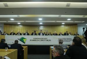 Evento da OAB em homenagem aos 30 anos da Constituição Foto: Jorge William / Agência O Globo