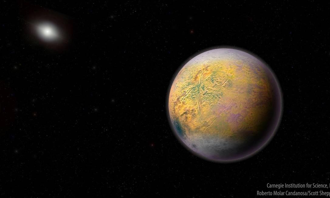 Ilustração do distante Planeta X, que moldaria a órbita de objetos menores, como o 2015 TG387 Foto: Divulgação/Carnegie Institution for Science