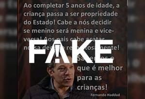 Mensagem atribuída a Fernando Haddad (PT) é falsa Foto: Reprodução