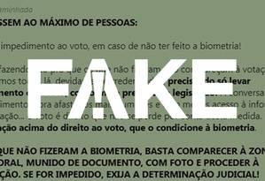 Mensagem que diz que não há impedimento de voto para quem não fez biometria é falsa Foto: G1
