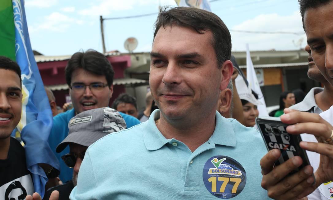 Flávio Bolsonaro, candidato ao Senado, é filho do candidato do PSL à Presidência, Jair Bolsonaro Foto: Pedro Teixeira / Agência O Globo