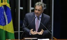 O senador Aécio Neves (PSDB-MG) discursa na tribuna do Senado Foto: Roque de Sá/Agência Senado/16-05-2018
