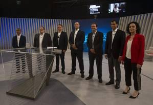 Candidatos ao governo do estado do Rio participam de debate na TV Globo Foto: Alexandre Cassiano / Agência O Globo