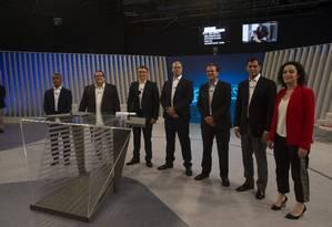 Debate com os candidatos ao governo do Rio de Janeiro na TV Globo Foto: Alexandre Cassiano / Agência O Globo
