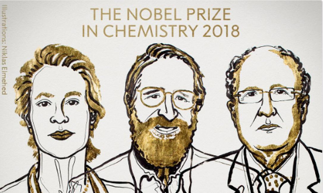 Os vencedores do Nobel de Química 2018: Frances H. Arnold, George P. Smith e Sir Gregory P. Winter. Foto: Twitter/Reprodução