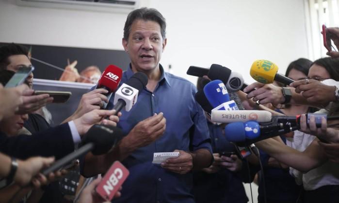 Fernando Haddad, candidato pelo PT Foto: Marcos Alves / Agência O Globo