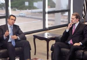 O ministro da Fazenda, Eduardo Guardia, e o presidente do STF, Dias Toffoli Foto: Carlos Moura/STF