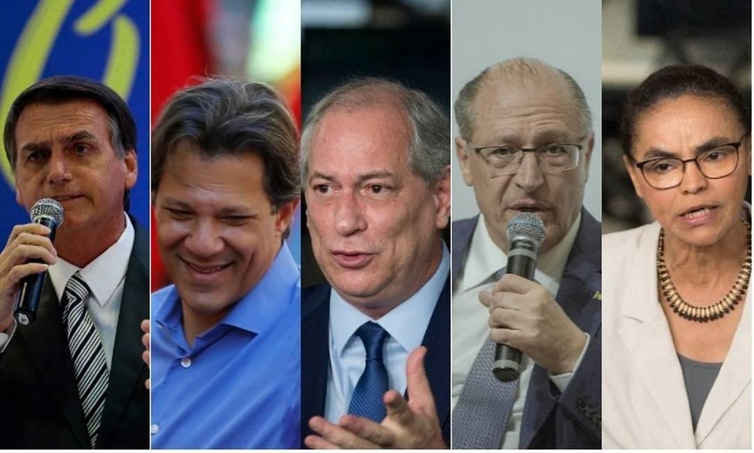 Os candidatos Jair Bolsonaro, Fernando Haddad, Ciro Gomes, Geraldo Alckmin e Marina Silva Foto: Montagem sobre fotos de arquivo