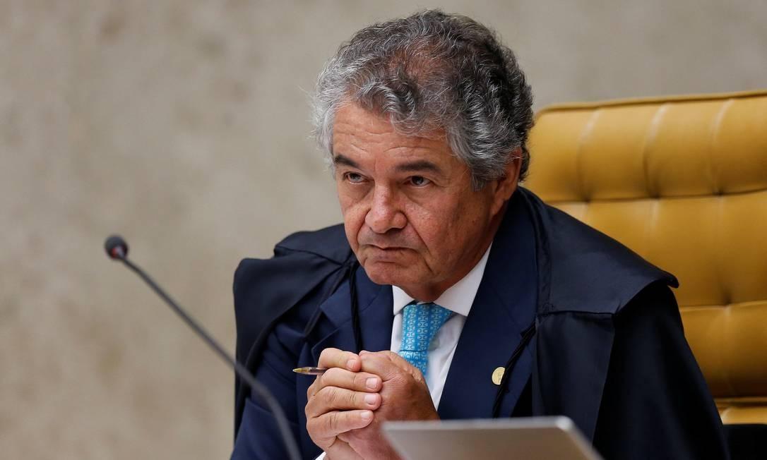 O ministro do STF Marco Aurélio Mello em sessão para decidir pedido de habeas corpus do ex-presidente Lula, em abril de 2018 Foto: Adriano Machado / Reuters