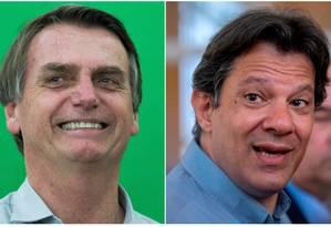 Os candidatos Jair Bolsonaro (PSL) e Fernando Haddad (PT) Foto: Edilson Dantas e Mauro Pimentel/AFP