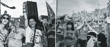 Na Cinelândia (à esq.), milhares de mulheres foram às ruas, em ato multipartidário, contra propostas machistas de Jair Bolsonaro, explicitadas no slogan #elenão. Em Copacabana (à dir.), apoiadoras de Bolsonaro repudiaram o esquerdismo e o comunismo, entoando #elesim Foto: Marcelo Saraiva e Juliana Dal Piva / Agência O Globo