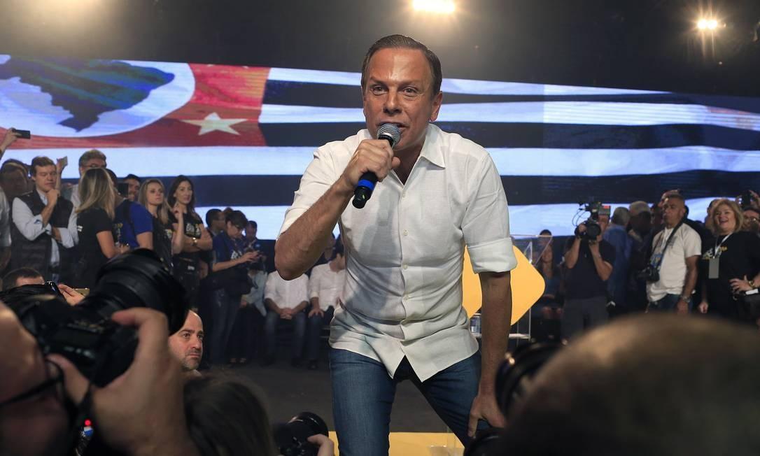 João Doria (PSDB) disputará o segundo turno da eleição para o governo de São Paulo com Márcio França (PSB) Foto: Edilson Dantas / Agência O Globo