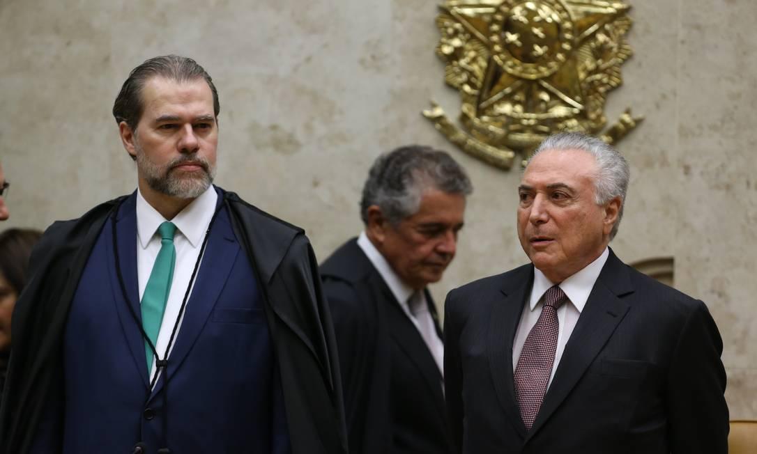 Os presidentes do STF, Dias Toffoli, e da República, Michel Temer Foto: Ailton Freitas/Agência O Globo