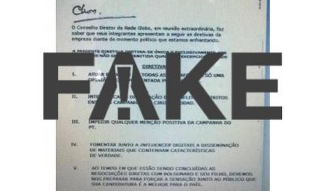 Documento falso atribui à Rede Globo orientações para cobertura de campanha eleitoral. A mensagem também é falsa Foto: Reprodução