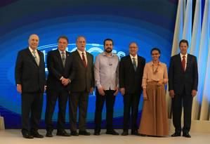 Haddad, Ciro, Alckmin, Marina, Meirelles, Alvaro Dias e Boulos participam de debate na TV Globo Foto: Marcelo Theobald / Agência O Globo