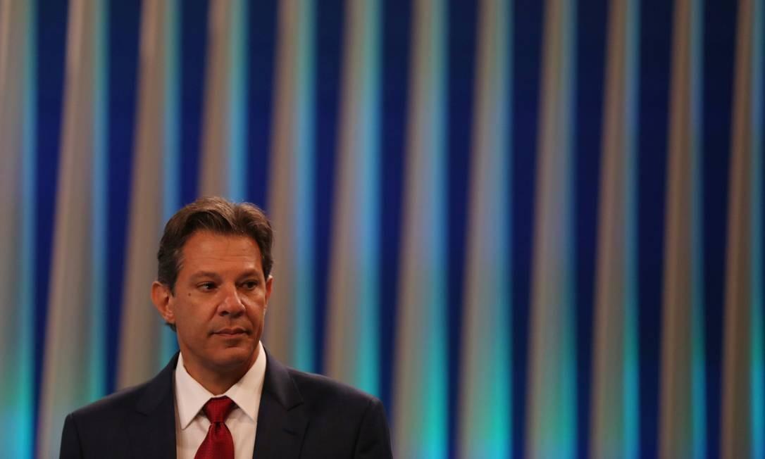 Candidato à Presidência, Fernando Haddad (PT) participa de debate na TV Globo Foto: RICARDO MORAES / REUTERS