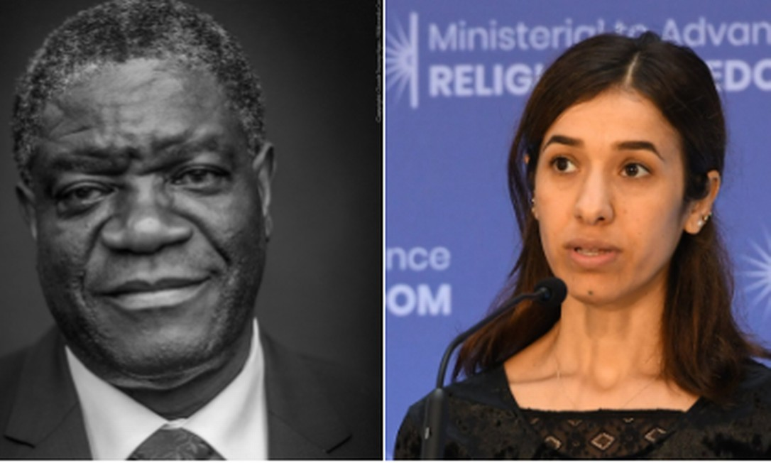 Denis Mukwege, ginecologista que atende vítimas da violência sexual no Congo, e Nadia Murad, ativista dos direitos humanos e sobrevivente de escravidão sexual pelo Estado Islâmico no Iraque, são os vencedores do Nobel da Paz de 2018 Foto: Twitter (@NobelPrize) / Reprodução