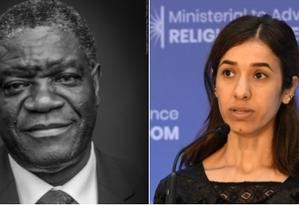 Denis Mukwege, um ginecologista que atende vítimas da violência sexual na República Democrática do Congo, e Nadia Murad, ativista dos direitos humanos e sobrevivente da escravidão sexual pelo Estado Islâmico no Iraque, são os vencedores do Nobel da Paz de 2018 Foto: Twitter (@NobelPrize) / Reprodução