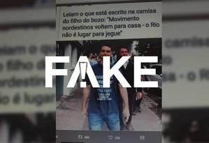 Imagem em que Flávio Bolsonaro aparece com camiseta com frase de ofensa a nordestinos é montagem Foto: Arte G1/Rodrigo Cunha