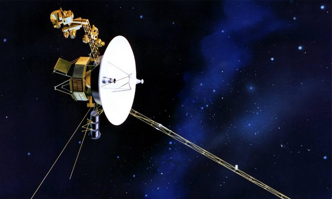 Ilustração da Nasa mostra a sonda Voyager 2, que se aproxima da fronteira do Sistema Solar já atravessada por sua nave-irmã, a Voyager 1, em 2012 Foto: / Nasa