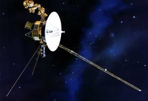 Ilustração da Nasa mostra a sonda Voyager 2, que se aproxima da fronteira do Sistema Solar já atravessada por sua nave-irmã, a Voyager 1, em 2012 Foto: Nasa