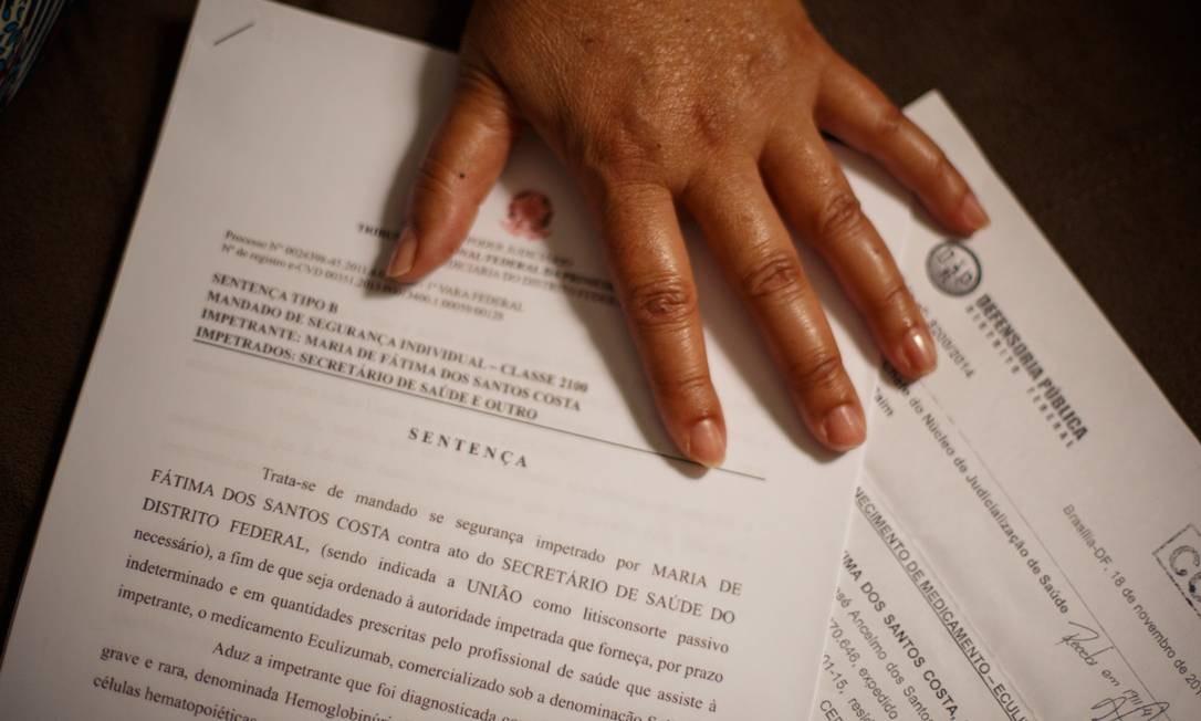 Sentença obtida por paciente que obriga compra do Soliris Foto: Daniel Marenco/Agência O Globo/28-09-2018
