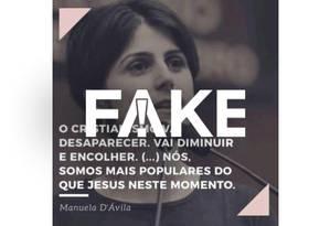 Imagem de Manuela D'Ávila com declaração de que o cristianismo vai desaparecer Foto: Reprodução
