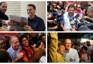 Os candidatos a presidente Bolsonaro, Haddad, Ciro Gomes e Alckmin Foto: Arquivo O GLOBO
