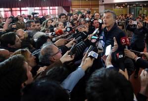 O presidente da Argentina, Mauricio Macri, ao dar seu voto nas eleições do país que o sagraram eleito ao principal cargo do executivo Foto: Marcos Brindicci / Reuters