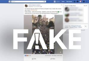 Mensagem falsa diz que multidão vestida de verde e amarelo se reuniu em frente a hospital onde Jair Bolsonaro está internado Foto: Reprodução