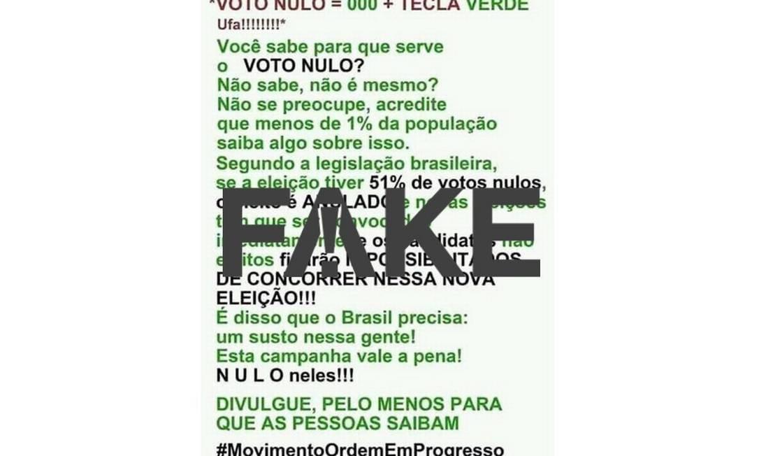 Mensagem no Facebook tem informação incorreta sobre impacto nas eleições Foto: Reprodução