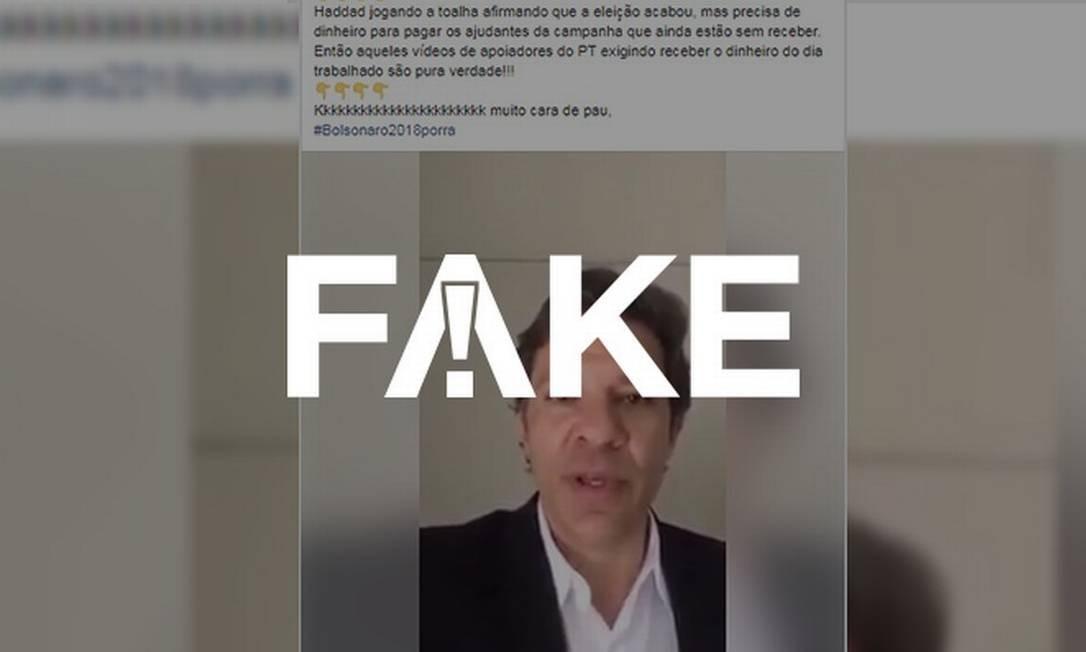 Mensagem de post que diz que Haddad jogou a toalha e eleições para a Presidência acabaram é falsa Foto: Reprodução