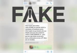 Mensagem com conteúdo falso sobre João Amoêdo Foto: Reprodução