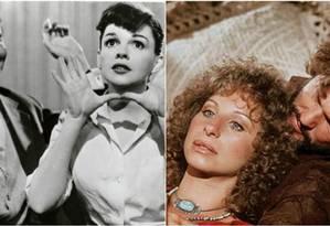 A versão de 1954 com Judy Garland e James Mason (à esquerda) e de 1976 com Barbra Streisand e Kris Kristofferson Foto: Divulgação