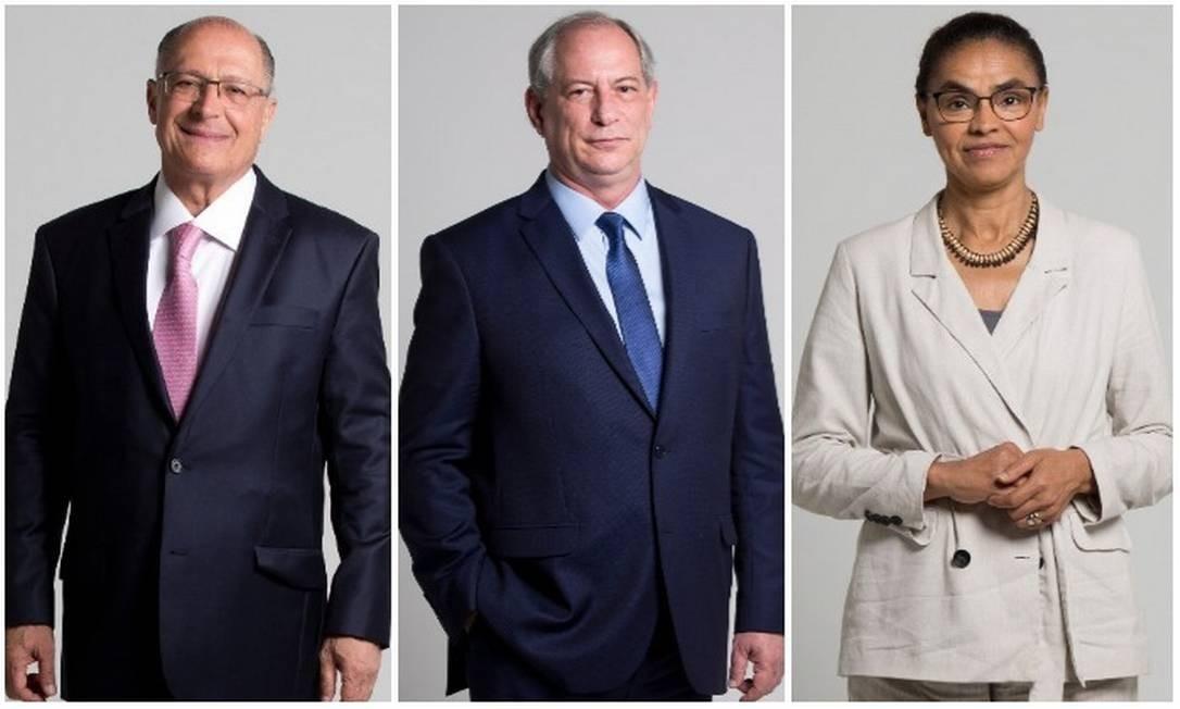 Os candidatos a presidente Geraldo Alckmin (PSDB), Ciro Gomes (PDT) e Marina Silva (Rede) Foto: Márcia Foletto/ Agência O GLOBO