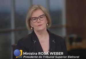 A presidente do TSE, Rosa Weber, durante pronunciamento Foto: Reprodução