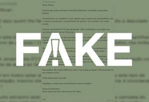 Mensagem compartilhada no Whatsapp atribuída a Eduardo Bolsonaro é falsa Foto: Reprodução/G1