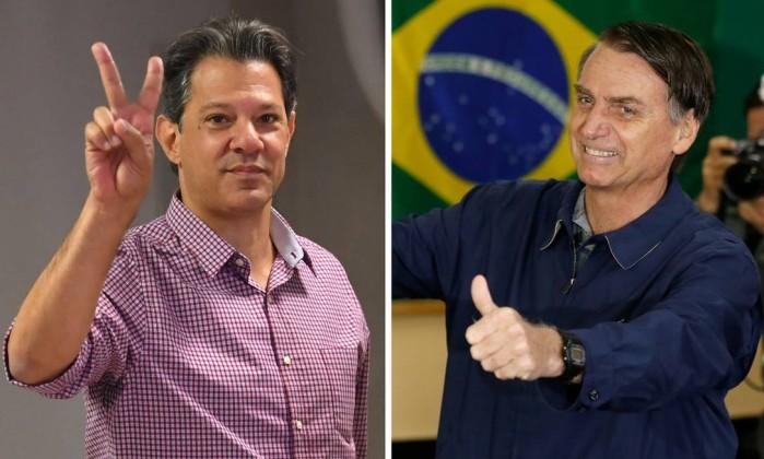 Fernando Haddad e Jair Bolsonaro Foto: AFP e Pablo Jacob